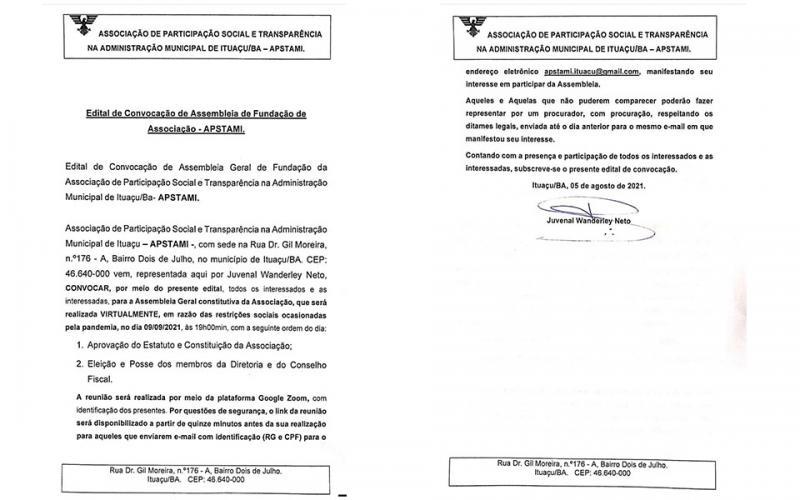 População é convocada para participar da fundação da Associação de Participação Social e Transparência na Administração Pública Municipal de Ituaçu, veja o edital