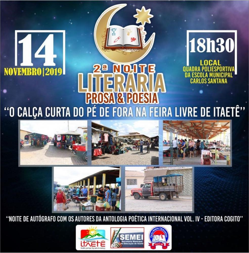 2ª Noite Literária Prosa e Poesia será realizada em Itaetê; confira