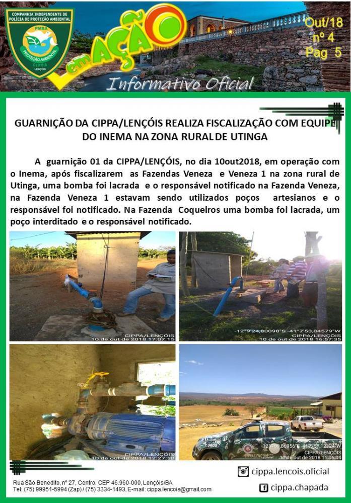 CIPPA Lençóis e INEMA realizam operações e lacram bombas irregulares nas regiões de Wagner e Utinga