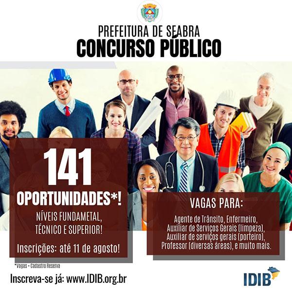 Chapada: Prefeitura de Seabra abre processo seletivo com 141 vagas
