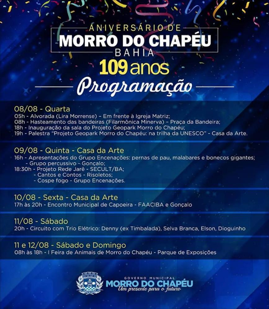 Morro do Chapéu comemora 109 anos de emancipação