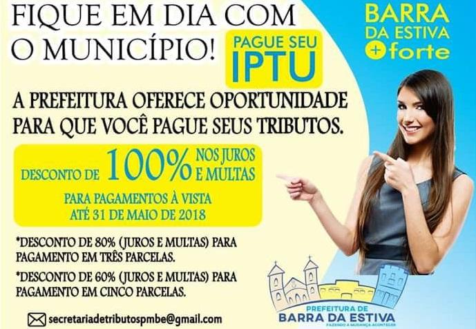 Até 31 de maio Barrestivenses terão 80% de desconto no pagamento de IPTU