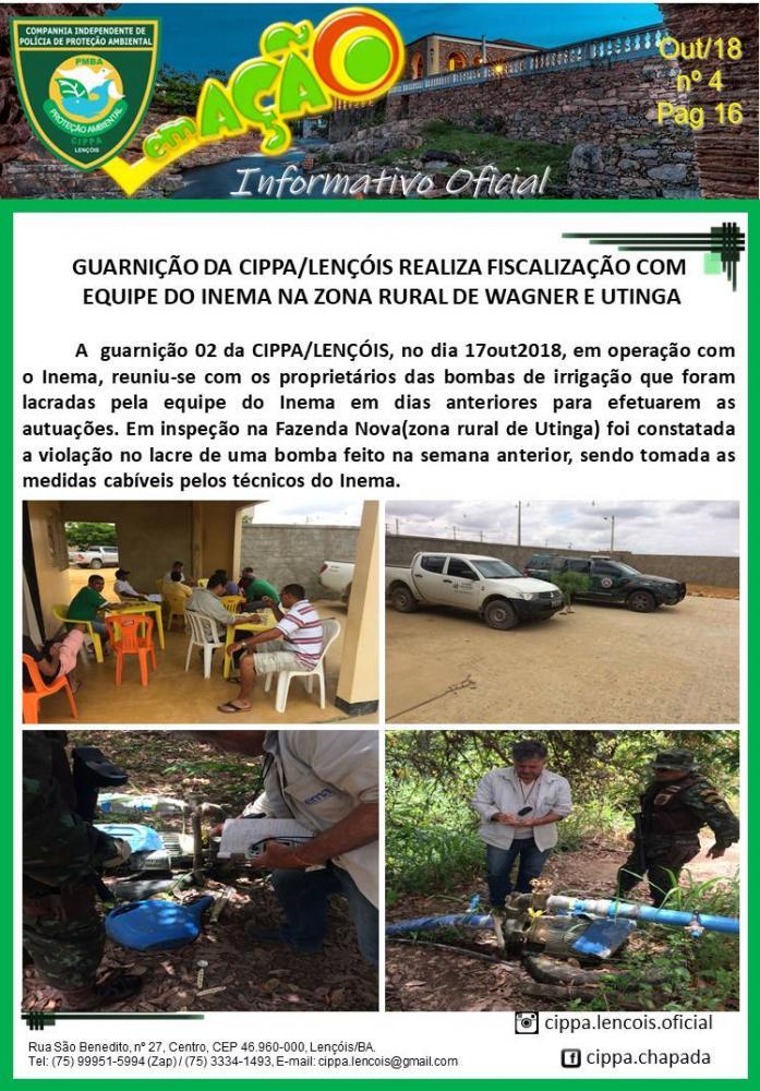 Cippa Lençóis e Inema realizam inspeções na zona Rural de Wagner e Utinga