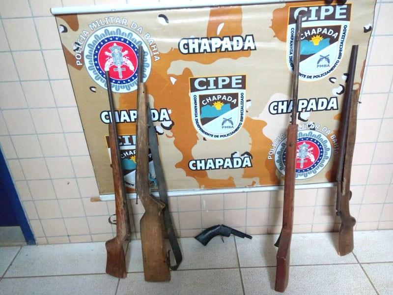 Armas de fogo são apreendidas na zona rural de Iraquara